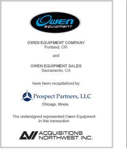 Prospect Partners, LLC Recapitalizes Owen Equipment Company and Owen Equipment Sales